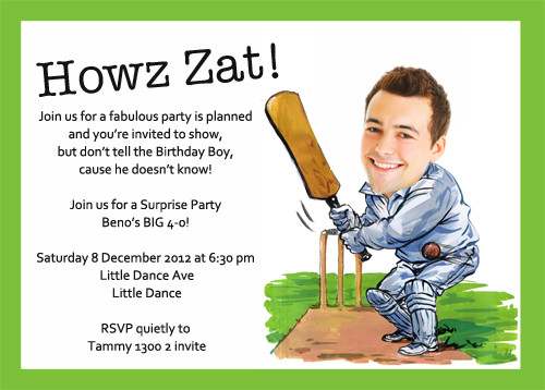 Buy Custom Cricket Caricature Themed Birthday Invitations