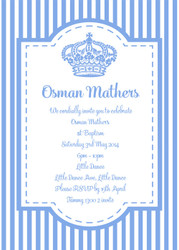 Light Blue Royal Stripe Christening & Baptism Invitations