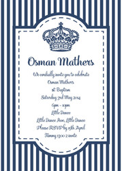 Navy Blue Stripe Christening & Baptism Invitations