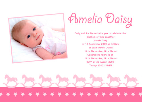 Rocking Horse Themed Christening Invitations & Supplies For Sale ...