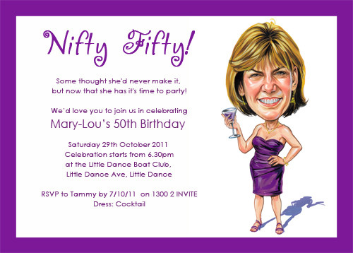 Buy Custom Caricature Fiftieth Birthday Party Invitations