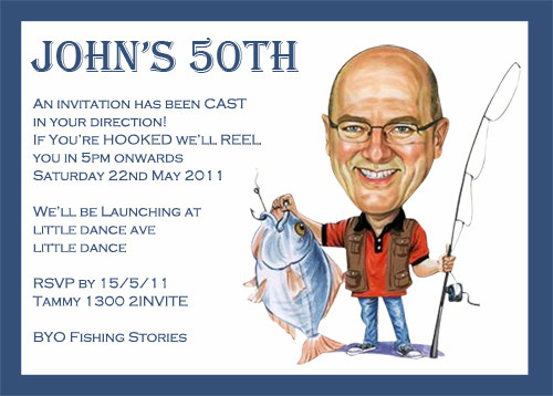 Caricature Fishing Trip Invitations For Sale Buy Caricature Gone – Fishing Party Invitations