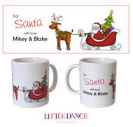 Santa Sleigh & Reindeer Personalised Christmas Mug