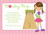 Girls Ten Pin Bowling Birthday Party Invitation