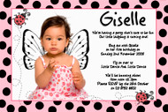 Pink Ladybug Ladybird personalized girls birthday party invitations online.