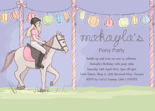 buy girls pony party invitations online