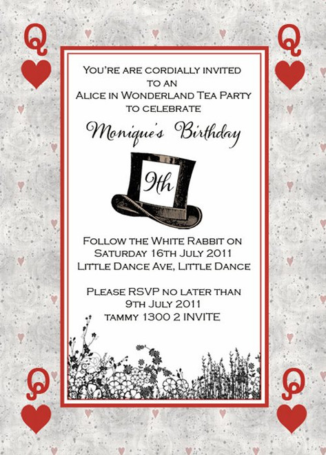 Mad Hatters Tea Party Invitation Themed Mad Hatters Tea Party