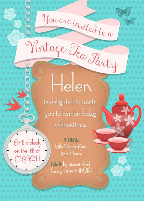 Personalised Vintage High Tea Party Invitation - Custom High Tea ...