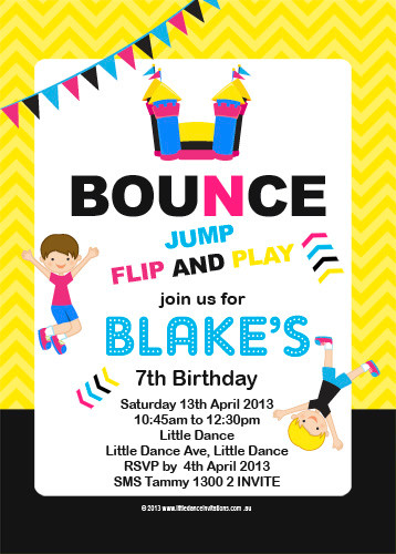 buy personalized bounce house birthday invitations personalised jumping castle or trampoline. Black Bedroom Furniture Sets. Home Design Ideas