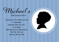 Boys Blue Cameo Birthday Party Invitation