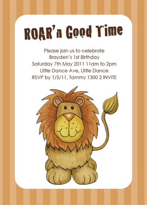 Kids lion themed birthday party invitation childrens lion themed little lion birthday party invitations filmwisefo