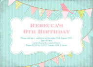 Sweet Vintage Bunting Birthday Party Invitation
