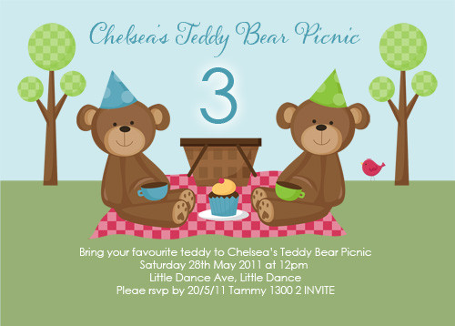 Teddy Bear Picnic Party Invitations - Teddy Bear Picnic Birthday