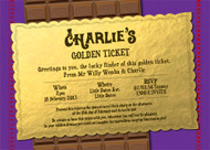 Willy Wonka Golden Ticket Birthday Party Invitation