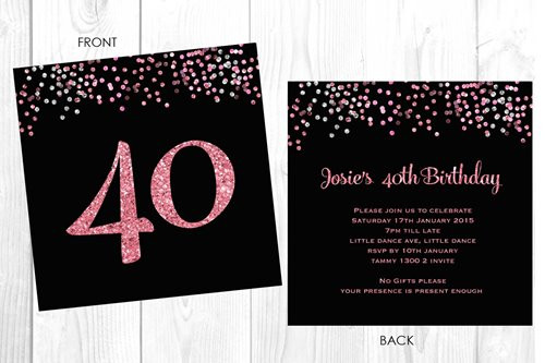 Buy Personalised 40th Birthday Invitations Glitter Efffect Custom