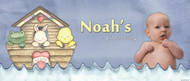 Custom boys christening or baptism banner for sale online. Made using a photo, Noah's Ark Theme