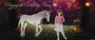 Personalized girls birthday party banner with photo - Fantasy unicorn theme. Sale online in Australia