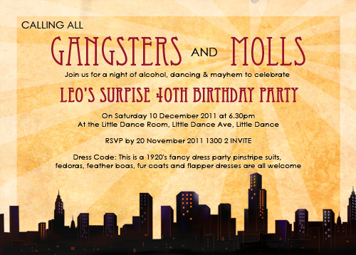 Personalised Gangster and Moll Party Invitations For Sale Buy – Gangster Party Invitations