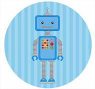 Blue Robot Party Spot Sticker Labels