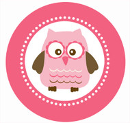 Party Labels & Stickers - Hot Pink Owl