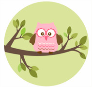 Pink Owl Party Spot Sticker Labels