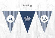 Royal Navy Stripe Personalised Baptism & Christening Decoration Bunting flags.