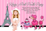 French Pink Poodle Birthday Party Invitations