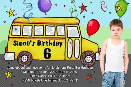 Party bus invitations bus themed birthday party invitations for party bus birthday party invitations stopboris Choice Image