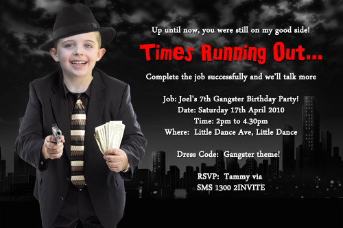 Kids Gangster Party Photo Invitations and Childrens Mobster Party – Gangster Party Invitations