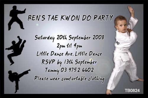 Tai Kwon Do Birthday Party Invitation
