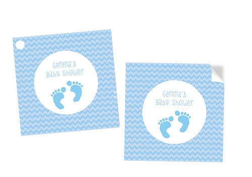 Baby Shower Blue Footprints Square Tags and Stickers