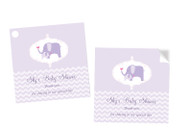 Purple Baby Elephant Square Tags and Stickers