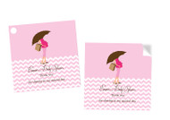 Pink Mum Baby Shower Square Tags and Square Stickers