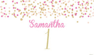 Pink & Gold Confetti Party Personalised Kids Birthday Party Banners