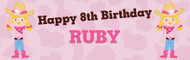 Cowgirl Personalised Kids Birthday Party Banners