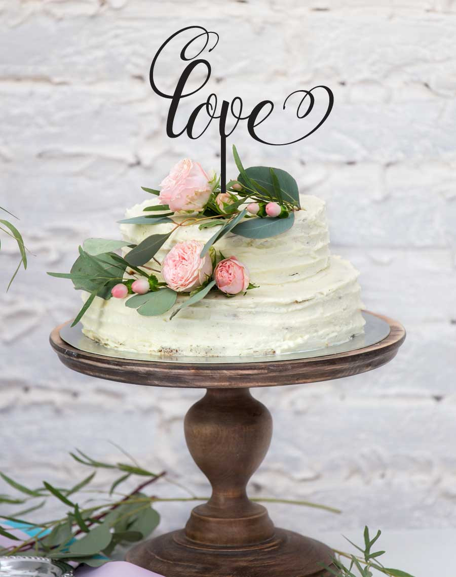 The word love wedding cake topper