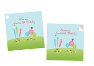 Candyland Party Personalised Square Stickers & Square Tags