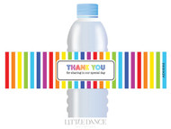 Rainbow Stripe Party Personalised Water Bottle favour labels