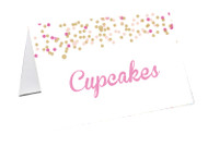 Pink & Gold Confetti Party Personalised Place Cards, Name Cards, Buffet & Lolly jar cards