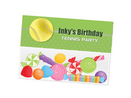 Tennis party themed personalised birthday party lolly bag, loot bag and party favour bags.