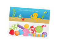 Sea Creatures party themed personalised birthday party lolly bag, loot bag and party favour bags.