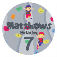 Boys Rock Climbing Birthday Party personalised stickers and labels