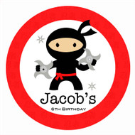 Ninja Birthday Party Personalised Party Labels & Stickers and stickers