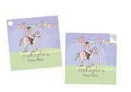 Girls Pony Party Personalised Square Labels, Square Stickers and Square Tags.