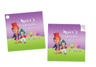 Willy Wonka Personalised Square Labels, Square Stickers and Square Tags.