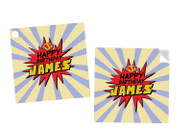 Superhero Party Personalised Square Labels, Square Stickers and Square Tags.