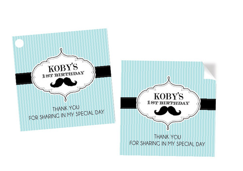 Little Moustache Man Party Personalised Party Stickers, Labels and Tags.