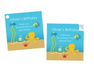 Sea Creatures Party Personalised Party Stickers, Labels and Tags.