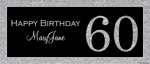 Silver Glitter Birthday Party Posters, Banners and Backdrops