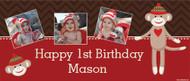 Sock Monkey Personalised Birthday Party Banner